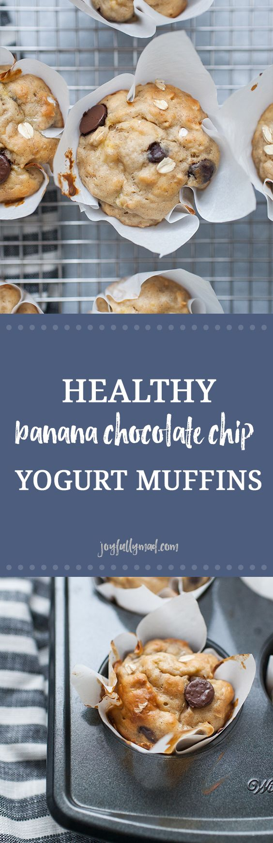 Healthy banana chocolate chip yogurt muffins are the perfect way to start your day! These healthy muffins have no added sugar, they are simply sweetened with bananas and chocolate chips! These oat filled muffins are gooey and soft. Made with flour, oats, yogurt, bananas and chocolate chips, they are a simple morning treat! #ad
