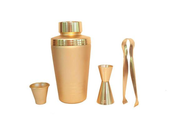 Gold Mirro Aluminum Cocktail Shaker Set/ Mirro Shaker/ Jigger/