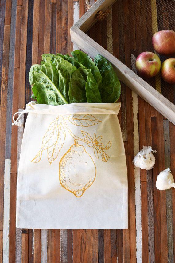 Sacs de coton réutilisables produits - Set de 2 - écran imprimé coton naturel produits sacs vrac - réutilisables et lavables - sacs d'épicerie - agrumes