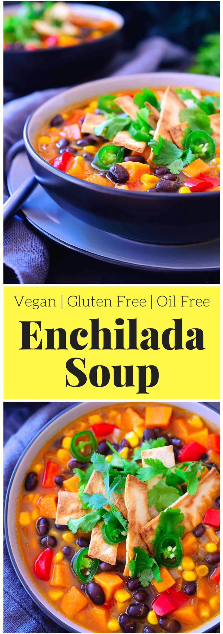 This vegetarian enchilada soup tastes just like … you guessed it: enchiladas, but in soup form. Not only is it super tasty and vegan, it's much quicker and easier than traditional enchiladas as it can be ready in just 20 minutes! It's a super lazy, freezer friendly and filling meal that costs less than two dollars a serving.