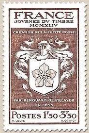 La que se considera como la primera estampilla postal adhesiva fue emitida en París el 8 de abril de 1653 por Renouard de Villayer, quien estableció el primer sistema formal de buzones