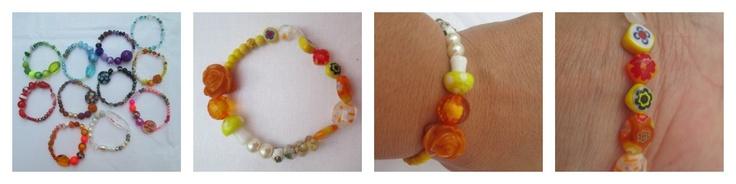Pulsera Mixture jaune  Materiales: Cuentas acrílicas, de vidrio, de arcilla polimérica y cloissoné, perlas, murrinas, mustacillas sencillas, rosa en resina  Valor: $8.000