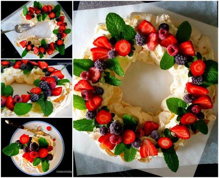 How to DIY Festive Berry Pavlova Wreath tutorial