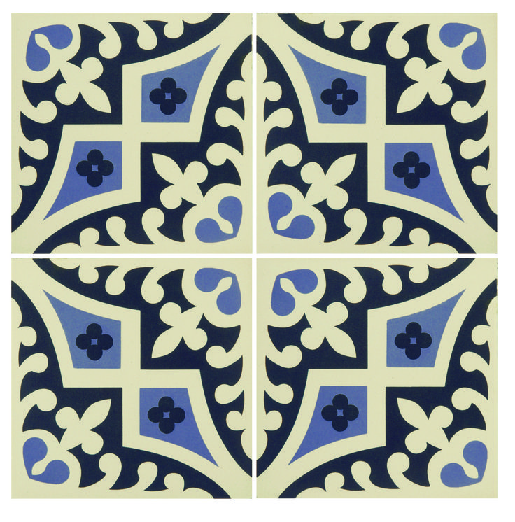 Romanesque Indigo and Dark Blue on White tile from the Odyssey Range by Original Style