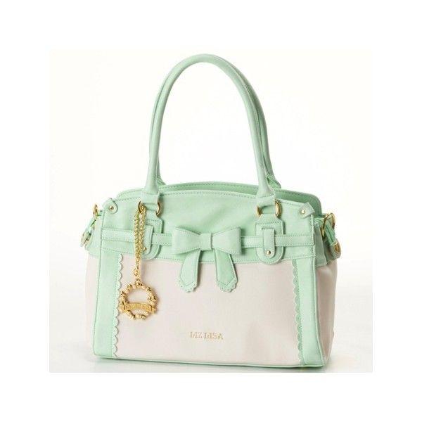 バッグ(バイカラー2WAYトート) | リズリサ(バッグ&ウォレット)(LIZ LISA Bag&Wallet) | ファッション通販... ❤ liked on Polyvore featuring bags, wallets, green bag and green wallet