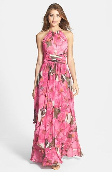 Wow. What a shame that summer is almost over, this is beautiful! Eliza J Print Chiffon Maxi Dress available at #Nordstrom