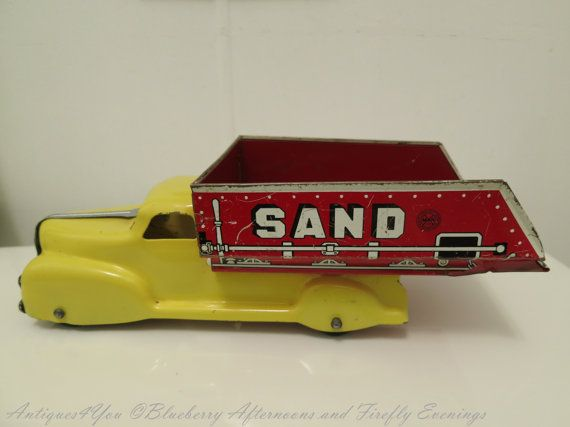 Vintage Sand Truck  Metal Toy Sand and Gravel by Antiques4You