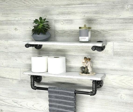5 5 Deep Towel Bar With Shelf And Extra Floating Shelf Industrial Modern Rustic Towel Holder Bathroom Shelf Bath Rustic Towels Floating Shelves Towel Bar