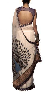 Off White Net Peacock Saree | Strandofsilk.com - Indian Designers