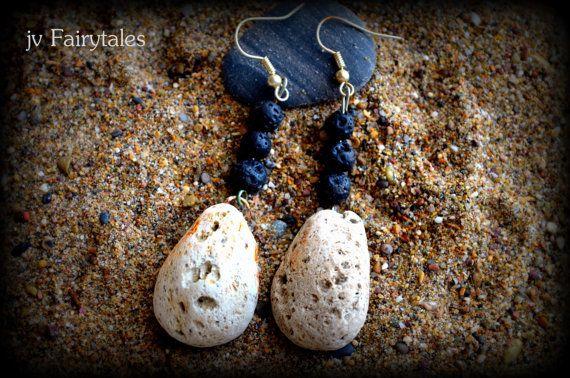 Pumice Stone Earrings Lava Stone Earrings Summer by jvFairytales