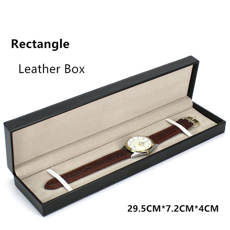 Black Leather Watch Boxes Fashion Rectangle Watch Display Case With Pillow New Brand Watch Gift Box Can Customize LOGO A088