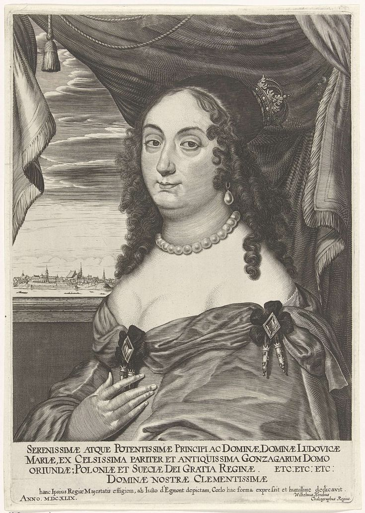 Willem Hondius | Portret van Maria Ludovica Gonzaga, Willem Hondius, 1649 | Portret ten halven lijve naar links van Maria Ludovica Gonzaga voor een gordijn een een doorkijk naar een stad aan een rivier. Onder het portret vier regels in het Latijn.