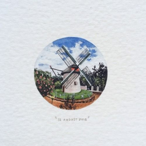 Day 224 : Mostert's Mill is a historic windmill in Mowbray, Cape Town, South Africa. It was built in 1796 and is the oldest surviving and only complete windmill in South Africa. - Wikipedia. 28 x 28 mm. #365postcardsforants #wdc624 #miniature #watercolour #mostertsmill #capetown (from @Parger9, for his mother) ❤️ (at De Waal Drive Cape Town)