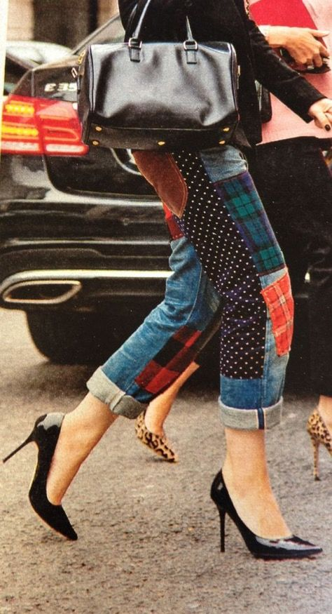 Denim street-style with black stilettos and multi-colored print fabric patches