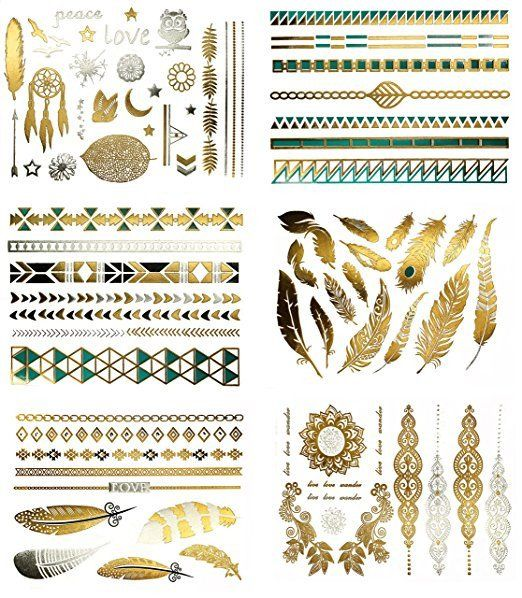 Metallic Glitter Colored Temporary Long Lasting Tattoos 75  Designs, 6 Sheets