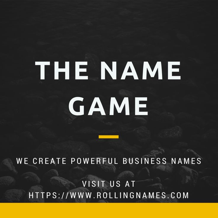 Its all about the name! We create catchy, unique powerful business names.