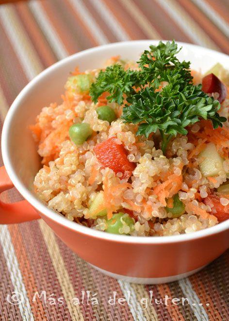 Más allá del gluten...: Ensalada de Verduras con Quinua (Receta GFCFSF, Vegana)