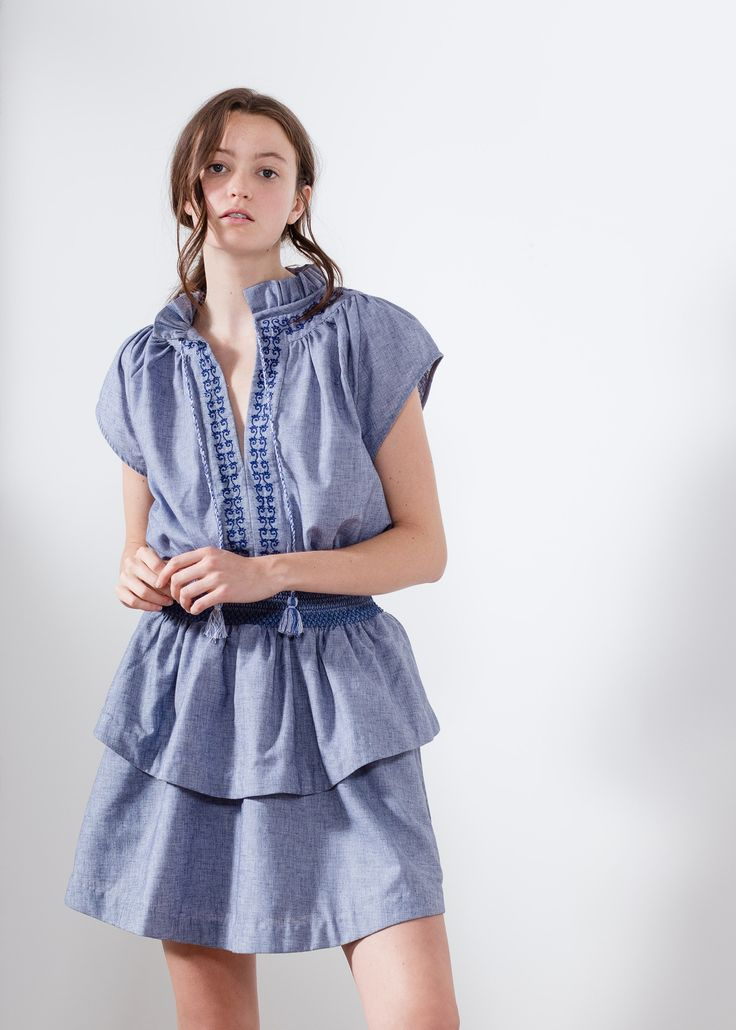 Aje navy chambray summer mini dress embroidery.  #AjeTheLabel #Fashion #Style #Lace #BroderieAnglaise #Embroidery #Frill #Sequins #Texture #Exclusive #Summer17 #EdwinaRobinson #AdrianNorris #White #Chambray #Navy #Nautical #LaDolceVita #Travel #Inspiration #