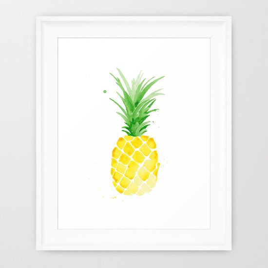 Piña - Yellow Framed Art Print