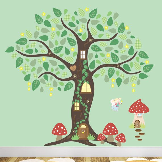 Fairy Wall Decal, Fairy Folk Enchanted Tree Decal Nursery Wall Stickers, Fairy Wall Art, Baby Girl Nursery Decor