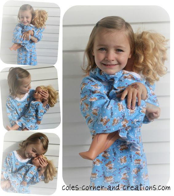 Free Pattern for Child & 18 inch Doll Nightgown... if only i had a girl to make this for!!!