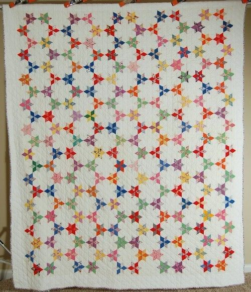 EYE CATCHING Vintage 30's Touching Stars 7 Sisters Antique Quilt ~SMALL SCALE! (OK i want this but i need to make it not buy it)