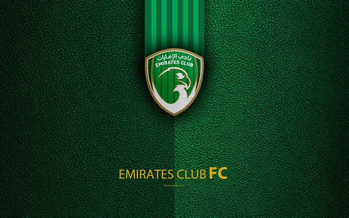 Download wallpapers Emirates Club, FC, 4K, logo, football club, leather texture, UAE League, Ras Al Khaimah, United Arab Emirates, football, Arabian Gulf League