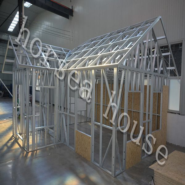 Our sample steel construction house, metal house in our factory