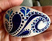 Midnight tribal dance / painted rock / Sandi Pike Foundas / Cape Cod sea stone / paisley