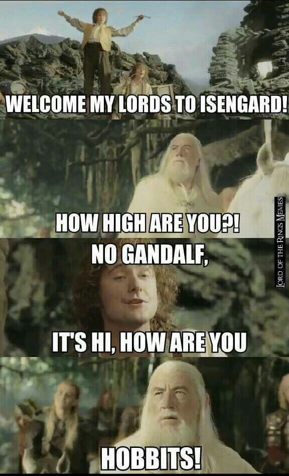 "Lord of the Rings. Gandalf and Pippin ""How high are you? """