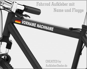Fahrrad Aufkleber mit Name und Flagge- Namensaufkleber