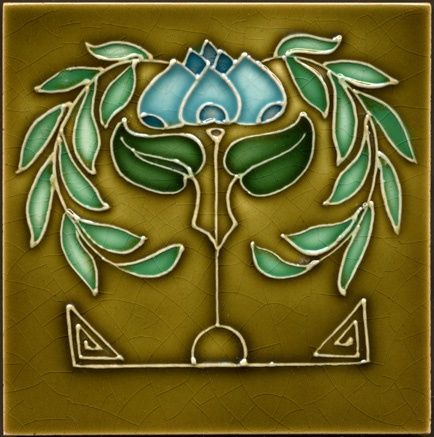 Art and Crafts tile; craftsman bungalow - water lily; water lillies