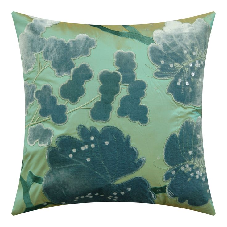 Chinoiserie on silk oasis blue on green