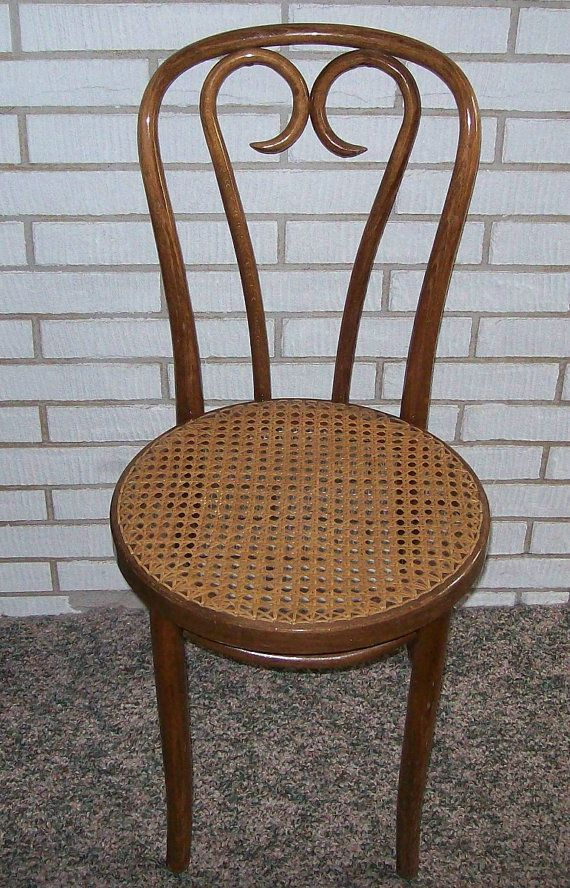 vintage bentwood chair with wicker seat by on etsy