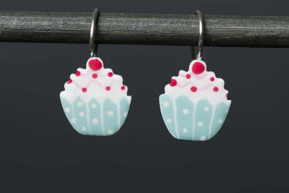 Hand painted Cupcake Earrings for Girls Food by CinkyLinky on Etsy