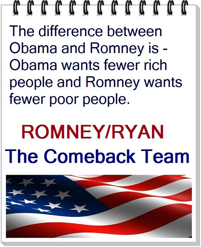 From a pro Romney board. From what I understand Romney wants to reduce poor people is by letting them die off without health care. Obama just wants rich people to pay their fair share to support the country that helped them become rich