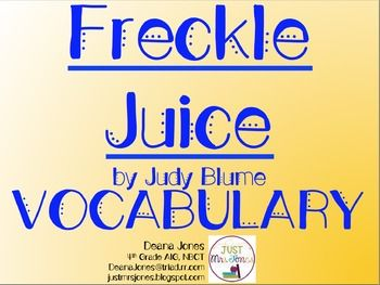 FREE vocabulary presentation that aligns with my FREE Comprehension Packet for Freckle Juice by Judy Blume.