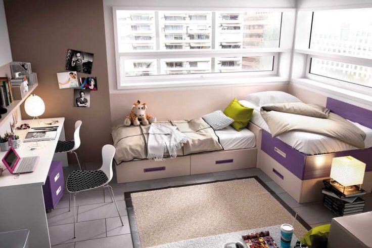 Conjunto de dos camas en l para colchones de 90x190 cm - Dormitorios juveniles de dos camas separadas ...