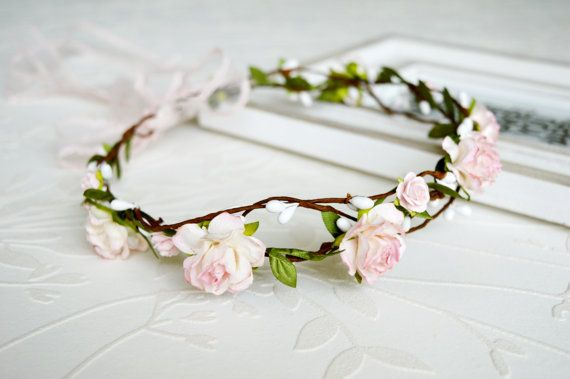 Flower crown Soft pink bridal hairpiece Rustic от LumilinA на Etsy