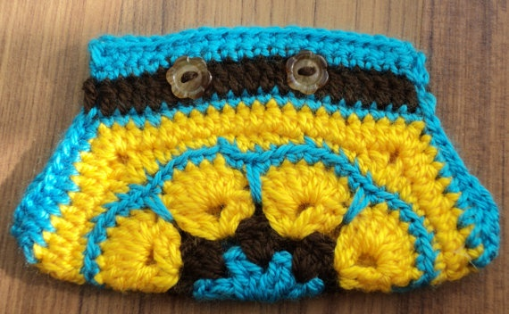 Yellow  CROCHET African Flower MINI BAG  with  by IstanbulMystique, $12.95