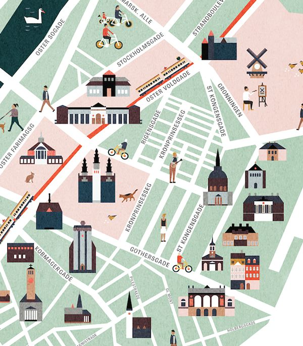 Copenhagen map illustration on Behance. by Saskia Rasink