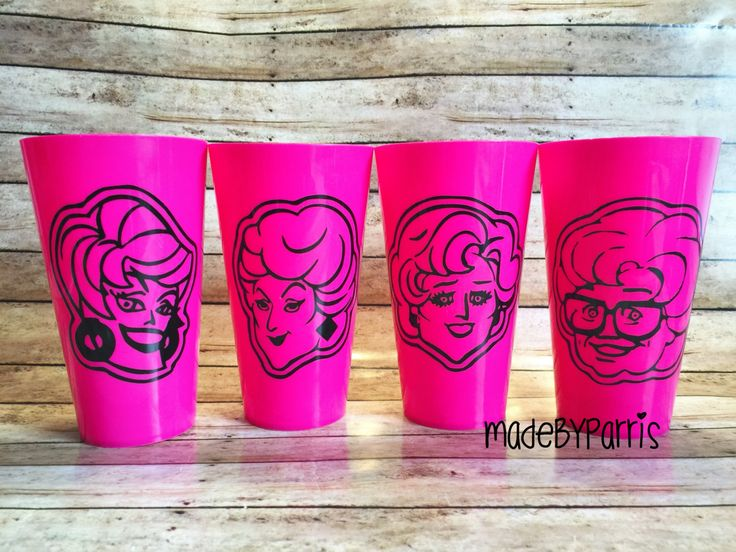 Golden Girls Cups, Set of 4, Golden Girls Fan, Stay Golden, Plastic Cups, Rose, Sophia, Blanche, Dorothy, Gift Idea, Mother's Day Gift, Cups by MadeByParris on Etsy