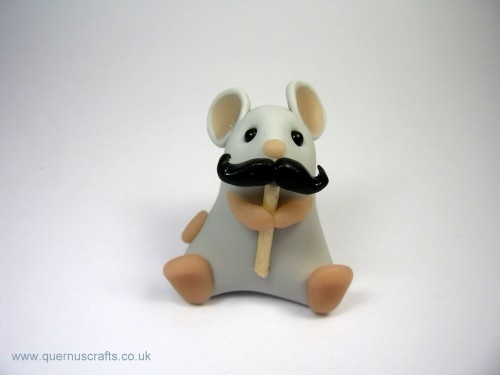 Grey Mouse with Moustache Fathers Day Gift Ornament Sculpture Cake Topper