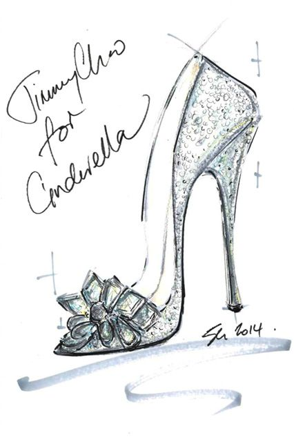 9 iconic designers sketched their own version of Cinderella's glass slipper