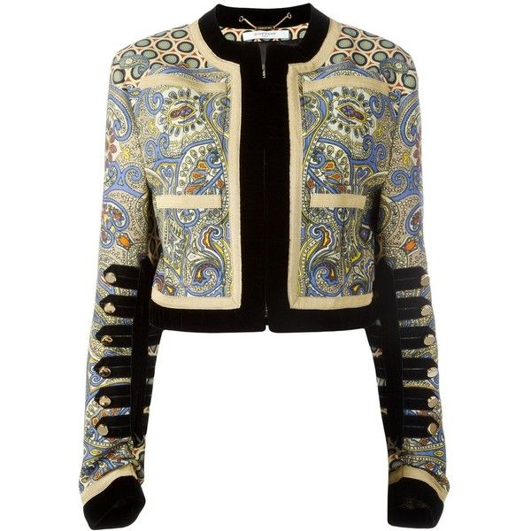 Givenchy printed cropped jacket (3,780 CAD) ❤ liked on Polyvore featuring outerwear, jackets, tops, black, long sleeve jacket, faux-leather jacket, colorful jackets, long sleeve jersey and multi coloured jacket