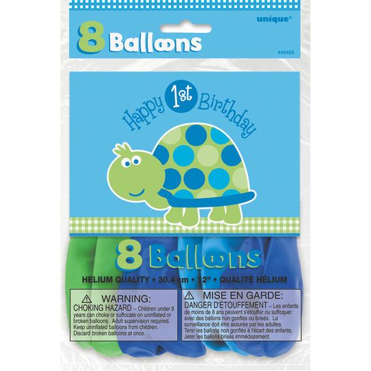 """12"""" Latex Turtle First Birthday Balloons, 8ct"""