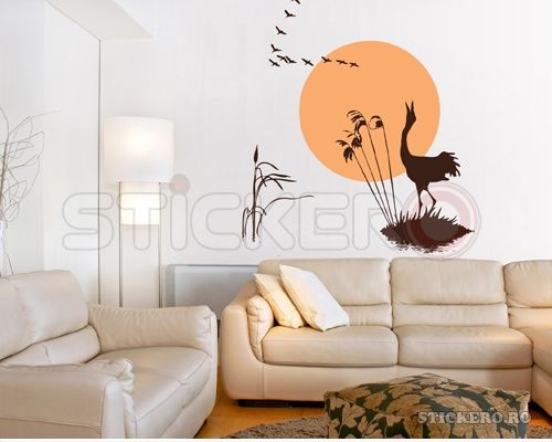 Peisaj din natura - papura trestie pasari soare