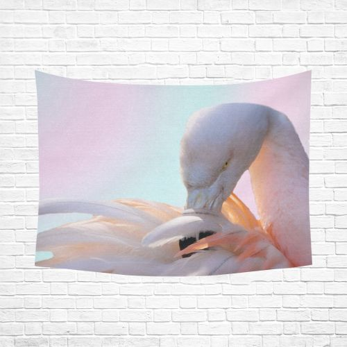 """Flamingo Pink Mint Cotton Linen Wall Tapestry 80""""x 60"""""""
