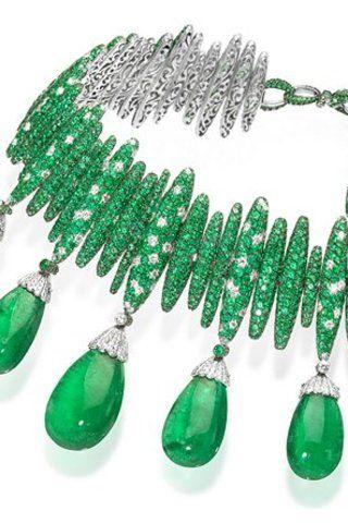 De Grisogono emerald and diamond choker