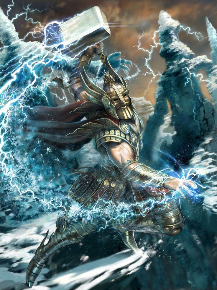 Thor norse god of thunder hammer